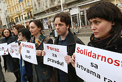31.03.2016, Zagreb, CRO, Proteste gegen Seselj Freispruch, im Bild Mitglieder der Platform 112 bei einem stillen Protest gegen den Freispruch von Vojislav Seselj durch das Haager Kriegsverbrecher Tribunal zum frühereren Jugoslawien // The Hague tribunal for the former Yugoslavia has found Serbian ex-Deputy Prime Minister Vojislav Seselj not guilty of being complicit in crimes against humanity in Croatia and Bosnia committed by Serbian militias between 1991 and 1993. That verdict was the reason for the protest at main Ban Josip Jelacic square organized by Platform 112 and War victims center. Croatian citizens and people who lost their family members in the war are shocked by verdict that Vojislav Seselj is free at Zagreb, Croatia on 2016/03/31. EXPA Pictures © 2016, PhotoCredit: EXPA/ Pixsell/ Zeljko Lukunic<br /> <br /> *****ATTENTION - for AUT, SLO, SUI, SWE, ITA, FRA only*****