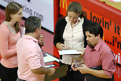 23 October 2010: Redbird Volleyball staff Ashley Moore, Adriano deSpuza, Melissa Myers and BJ Trame during an NCAA, Missouri Valley Conference volleyball match between the Wichita State Shockers and the Illinois State Redbirds at Redbird Arena in Normal Illinois.