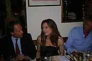 Lord March, Brooke Shields and Count Leopold von Bismarck. Dinner at San Lorenzo, Beauchamp Place after Tod's hosts Book signing with Dante Ferretti celebrating the launch of 'Ferretti,- The art of production design' by Dante Ferretti. 19 April 2005.  ONE TIME USE ONLY - DO NOT ARCHIVE  © Copyright Photograph by Dafydd Jones 66 Stockwell Park Rd. London SW9 0DA Tel 020 7733 0108 www.dafjones.com