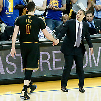 04 June 2017: Cleveland Cavaliers head coach Tyronn Lue is seen with Cleveland Cavaliers forward Kevin Love (0) during the Golden State Warriors 132-113 victory over the Cleveland Cavaliers, in game 2 of the 2017 NBA Finals, at the Oracle Arena, Oakland, California, USA.