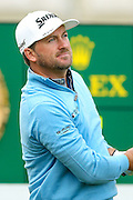 Northern Irish golf professional Graeme McDowell tees off the 1st at the BMW PGA Championship at the Wentworth Club, Virginia Water, United Kingdom on 27 May 2016. Photo by Simon Davies.