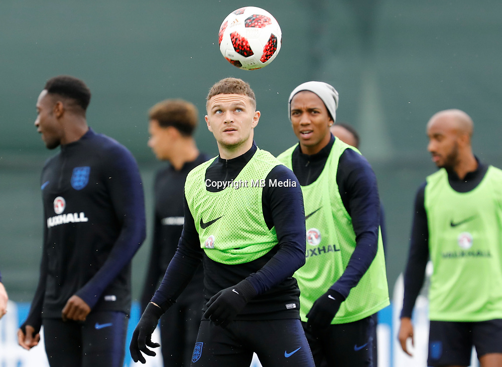 SAINT PETERSBURG, RUSSIA - JULY 10: Kieran Trippier (C) of England national team during an Englang national team training session ahead of the 2018 FIFA World Cup Russia Semi Final match against Croatia at Stadium Spartak Zelenogorsk on July 10, 2018 in Saint Petersburg, Russia. (MB Media)