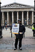 John Tucker on the The British museum picket line. PCS Budget Day Strikes were held all over London, followed by a rally outside the House of Commons. 20th March 2013.