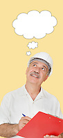 Senior constructor with clipboard looking up at speech bubble over yellow background