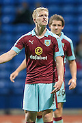 Michael Keane (Burnley) asks the assistant why a free kick was given during the Pre-Season Friendly match between Bolton Wanderers and Burnley at the Macron Stadium, Bolton, England on 26 July 2016. Photo by Mark P Doherty.