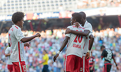 21.07.2015, Red Bull Arena, Salzburg, AUT, Testspiel, FC Red Bull Salzburg vs Bayer 04 Leverkusen, im Bild Torjubel Red Bull Salzburg nach dem 1:0 durch David Atanga (FC Red Bull Salzburg), Yordy Reyna (FC Red Bull Salzburg), Dimitri Oberlin (FC Red Bull Salzburg) // during the International Friendly Football Match between FC Red Bull Salzburg and Bayer 04 Leverkusen at the Red Bull Arena in Salzburg, Austria on 2015/07/21. EXPA Pictures © 2015, PhotoCredit: EXPA/ JFK