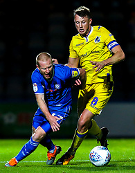 David Perkins of Rochdale takes on Ollie Clarke of Bristol Rovers - Mandatory by-line: Robbie Stephenson/JMP - 02/10/2018 - FOOTBALL - Crown Oil Arena - Rochdale, England - Rochdale v Bristol Rovers - Sky Bet League One