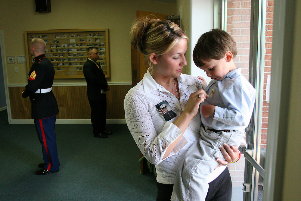 Widow, Danielle Powell (19) wife of Chad Wayne Powell with son Elijah Powell(3)Memorial service Jacksonville, NC<br /> [NY Times]