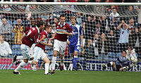 Photo: Paul Thomas.<br /> Burnley v Cardiff. Coca Cola Championship.<br /> 10/09/2005.<br /> <br /> Burnley celebrate James O'Connor's (Centre) goal.
