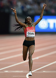 Hellen Obiri of Kenya celebrates her first place finish - Mandatory byline: Patrick Khachfe/JMP - 07966 386802 - 13/08/2017 - ATHLETICS - London Stadium - London, England - Women's 5000m Final - IAAF World Championships
