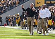 October 23 2010: Iowa head coach Kirk Ferentz during the first half of the NCAA football game between the Wisconsin Badgers and the Iowa Hawkeyes at Kinnick Stadium in Iowa City, Iowa on Saturday October 23, 2010. Wisconsin defeated Iowa 31-30.