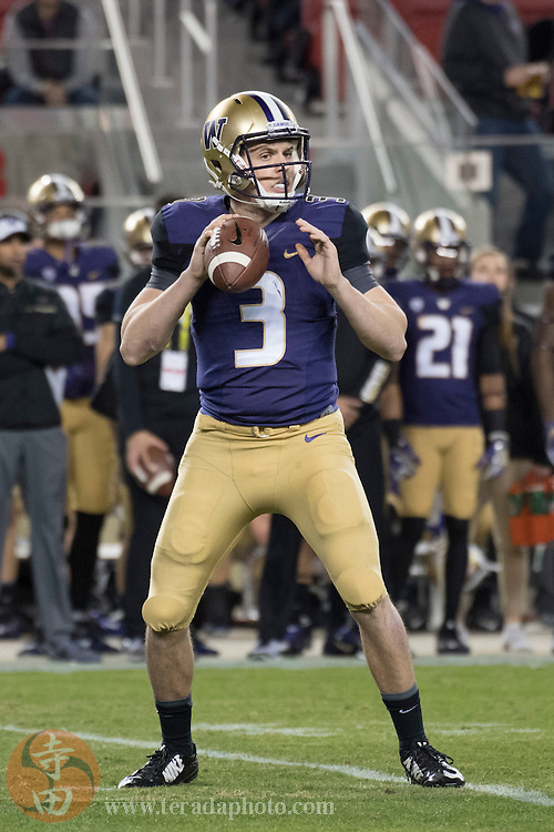 December 2, 2016; Santa Clara, CA, USA; Washington Huskies quarterback Jake Browning (3) looks for a receiver during the first quarter in the Pac-12 championship against the Colorado Buffaloes at Levi's Stadium.