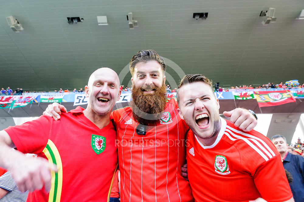 Wales fans celebrate their 2-1 win over Slovakia. Action from the WALES v SLOVAKIA UEFA EURO 2016 game at Stade Matmut Atlantique in Bordeaux, 11 June 2016. (c) Paul J Roberts / Sportpix.org.uk