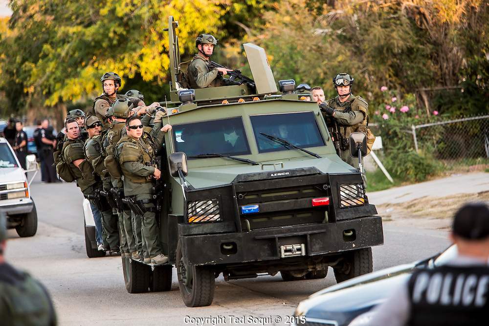 Shooting in San Bernardino.<br /> San Bernardino County Sheriff's SWAT team searching for more possible shooters after two shooters just engaged them to the north.