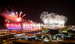 © Licensed to London News Pictures.27/07/2012 LONDON UK.© Licensed to London News Pictures. 28/07/2012. LONDON, UK. Fireworks are seen over the Olympic Stadium during the opening ceremony of the 2012 Summer Olympics is seen in London today (28/07/12). Constituting the third time the Olympic Games have been held in Great Britain, the 2012 Olympic Games, also known as the Games of the XXX Olympiad opened this evening with a show, put together by 'Slum Dog Millionaire' director Danny Boyle, entitled 'The Isles of Wonder. Photo credit : Andrew Baker/LNP