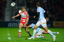 Gloucester Fly-Half (#10) Billy Twelvetrees chips upfield during the second half of the match - Photo mandatory by-line: Rogan Thomson/JMP - Tel: 07966 386802 - 12/10/2013 - SPORT - RUGBY UNION - Kingsholm Stadium, Gloucester - Gloucester Rugby v USA Perpignan - Heineken Cup Round 1.