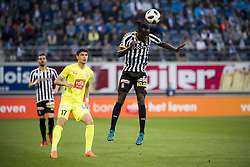 May 4, 2018 - Gent, BELGIUM - Gent's Roman Yaremchuk and Charleroi's Mamadou Fall fight for the ball during the Jupiler Pro League match between KAA Gent and Sporting Charleroi, in Gent, Friday 04 May 2018, on day seven (out of 10) of the Play-Off 1 of the Belgian soccer championship. BELGA PHOTO JASPER JACOBS (Credit Image: © Jasper Jacobs/Belga via ZUMA Press)