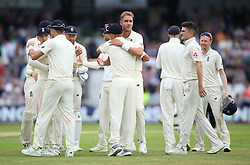 England players celebrate victory over Pakistan during day three of the Second NatWest Test match at Headingley, Leeds.