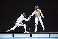 Macel MARCILLOUX (FRA) [left] v Keith COOK (GBR) [right] during the men's foil competition at the London Prepares Olympic Test Event, ExCel Centre,  London, England November 27, 2011.