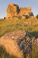Eroded sandstone rock formations in Medicine Rocks State Park in SE Montana