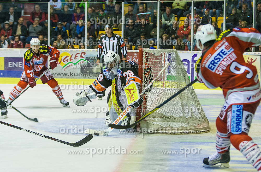 14.09.2012. Stadthalle, Klagenfurt, AUT, EBEL, EC KAC vs Graz 99ers, 03. Runde, im Bild Jamie Lundmark (Kac, #74), Frederic Cloutier (Graz 99-ers, #29), Tylor Spurgeon (Kac, #9) during the Erste Bank Icehockey League 03rd Round match betweeen EC KAC and Graz 99ers at the City Hall, Klagenfurt, Austria on 2012/09/14. EXPA Pictures © 2012, PhotoCredit: EXPA/ Mag. Gert Steinthaler