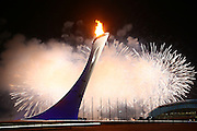 """Fireworks, <br /> FEBRUARY 7, 2014 - Opening Ceremony : <br /> during the Opening Ceremony for The 2014 Olympic Winter Games <br /> at """"FISHT"""" Olympic Stadium <br /> during the Sochi 2014 Olympic Winter Games in Sochi, Russia. <br /> (Photo by Yohei Osada/AFLO SPORT)"""