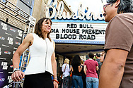 Rebecca Rusch chats with a friend at the screening of Blood Road at the Bluebird Theater in Denver, CO, USA on 27 June, 2017.