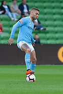 Melbourne City defender Bart Schenkeveld (5) controls the ball at the Hyundai A-League Round 6 soccer match between Melbourne City FC and Newcastle Jets at AAMI Park in Melbourne.