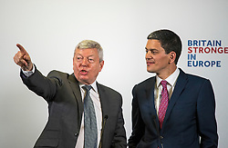 "© Licensed to London News Pictures. 12/04/2016. London, UK. Labour MP ALAN JOHNSON (left) takes questions after Former Labour MP and President of the International Rescue Committee DAVID MILIBAND (Right) delivers a pro EU speech at Church House in Westminster titled ""Britain and Europe: Strength through Alliances"". Photo credit: Ben Cawthra/LNP"