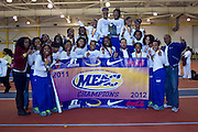 The Hampton Lady Pirates win the 2012 MEAC Indoor Track Championship and their 9th out of the last 10 at the Prince George's Sports & Learning Complex in Landover, Maryland.  February 17, 2012  (Photo by Mark W. Sutton)