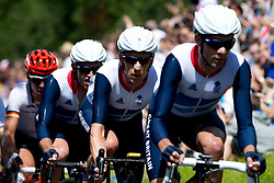 Team GB road cycling team in action along Box Hill, Surrey, on first full day of the London Olympics, Saturday , July 28th  2012  Photo by: i-Images