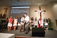 Narrators leading a worship section at the Evangelical Church of Bangkok (ECB) during the Easter service on 24 April 2011 in Bangkok, Thailand