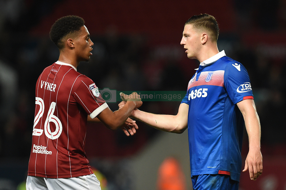 Stoke City's Kevin Wimmer (right) shakes hands with Bristol City's Zak Vyner after the Carabao Cup, third round match at Ashton Gate Stadium, Bristol.