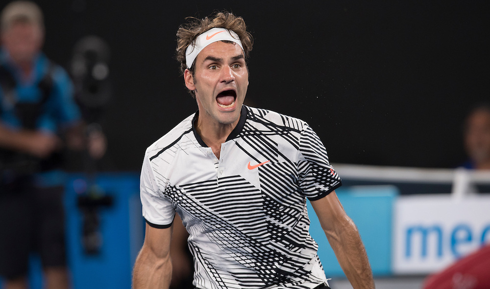 Roger Federer of Switzerland on day seven of the 2017 Australian Open at Melbourne Park on January 22, 2017 in Melbourne, Australia.<br /> (Ben Solomon/Tennis Australia)