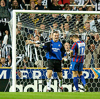 Photo. Jed Wee<br /> Newcastle United v Partizan Belgrade, European Champions League Qualifier, St. James' Park, Newcastle. 27/08/2003.<br /> Newcastle goalkeeper Shay Given (L) would keep his team in the match with some fine saves, but ultimately the woeful penatlies from his team mates would prove their undoing.
