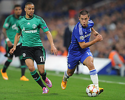 Chelsea's Eden Hazard attacks down the wing. - Photo mandatory by-line: Alex James/JMP - Mobile: 07966 386802 - 17/09/2014 - SPORT - FOOTBALL - London - Stamford Bridge - Chelsea v Schalke 04 - Champions League Group Stage