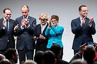 30 NOV 2018, BERLIN/GERMANY:<br /> Ingo Senftleben, CDU Landesvorsitzender Brandenburg, Friedrich Merz, CDU, Rechtanwalt und ehem. stellv. CDU/CSU Fraktionsvorsitzender, Monika Gruetters, CDU, Kulturstaatsministerin und Landesvorsitzender Berlin, Annegret Kramp-Karrenbauer, CDU Generalsekretaerin, und Jens Spahn, CDU, Bundesgesundheitsminister, (v.L.n.R.), applaudieren am Ende der Regionalkonferenz der CDU zur Vorstellung der Kandidaten fuer das Amt des Bundesvorsitzenden der CDU, Estrell Convention Center<br /> IMAGE: 20181130-01-072<br /> KEYWORDS: Monika Gruetters, Applaus, Jubel, klatschen