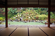 """Chishakuin Temple is the headquarters of the Chisan School of Shingon Buddhism.  Its garden was inspired by the area around Mt Lushan in China (""""Rozen"""" in Japanese) and its beauty changes with the seasons. The temple itself is has several National Treasures of Japan, wall paintings and decorative screen paintings."""