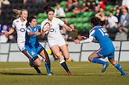 Abigail Brown of England Women (centre) attacks the Italy Women defence during the Women's RBS 6 Nations match at Twickenham Stoop , London<br /> Picture by David Horn/Focus Images Ltd +44 7545 970036<br /> 15/02/2015
