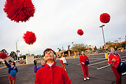 The Sun City Poms Marching Unit practices for an upcoming parade in a parking lot outside of a recreation center in Sun City, Arizona Decmeber 10, 2009.