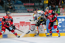 22.10.2016, Ice Rink, Znojmo, CZE, EBEL, HC Orli Znojmo vs Dornbirner Eishockey Club, 13. Runde, im Bild v.l. Adam Hughesman (HC Orli Znojmo) Oliver Achermann (Dornbirner) Roman Tomas (HC Orli Znojmo) // during the Erste Bank Icehockey League 13th round match between HC Orli Znojmo and Dornbirner Eishockey Club at the Ice Rink in Znojmo, Czech Republic on 2016/10/22. EXPA Pictures © 2016, PhotoCredit: EXPA/ Rostislav Pfeffer