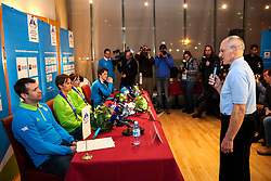 Miro Cerar talking to Tomaz Razingar, Teja Gregorin, Vesna Fabjan and Peter Prevc at reception of Slovenia team arrived from Winter Olympic Games Sochi 2014 on February 19, 2014 at Airport Joze Pucnik, Brnik, Slovenia. Photo by Vid Ponikvar / Sportida
