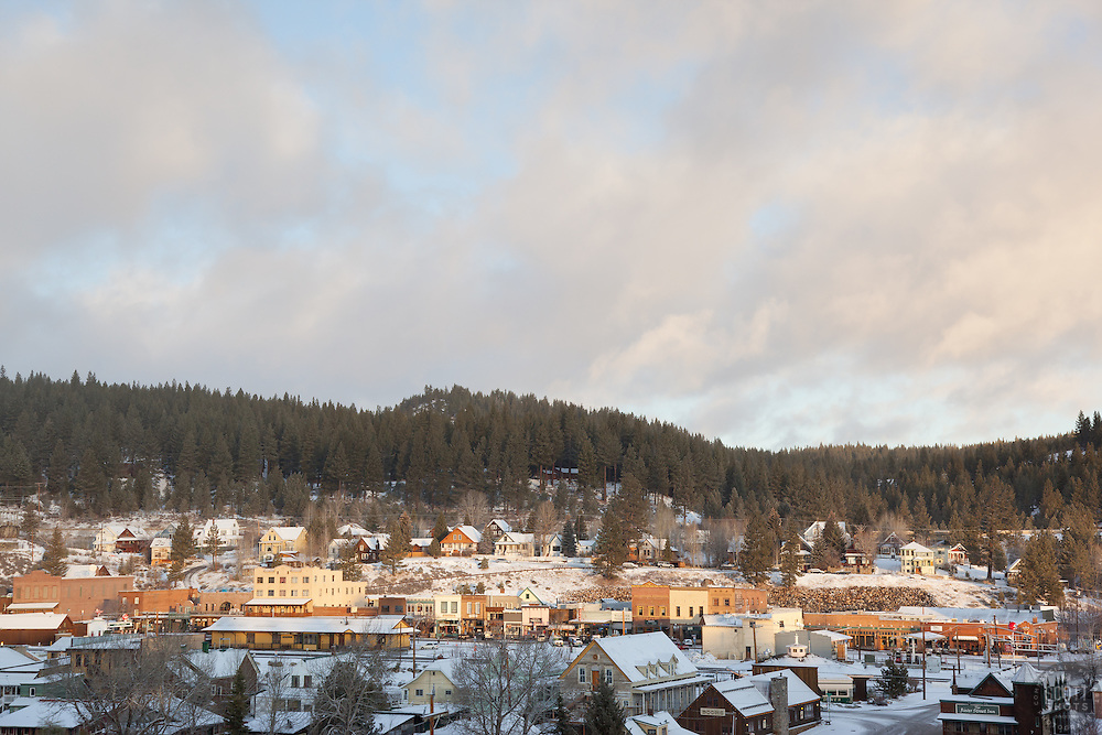 """""""Downtown Truckee 8"""" - This photograph of a lightly snow covered Truckee, California was photographed in the early morning."""