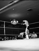 Nash vs Leon Championship Fight.    (N55)..1980..14.12.1980..12.14.1980..14th December 1980..At the Burlington Hotel, Dublin, Charlie Nash defended his European Lightweight Title when he took on Spain's Francesco Leon. .Image shows Nash lying on the bottom rope after a right hook from Leon knocked him down. The corner men look worried.