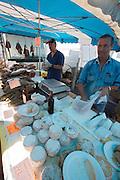 The market. Cheese, salami and Lonzo (smoked pork ham).