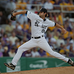 05 June 2009: Pitcher, Taylor Wall (26) of Rice throws in relief during game one of the NCAA baseball College World Series, Super Regional game between the Rice Owls and the LSU Tigers at Alex Box Stadium in Baton Rouge, Louisiana.