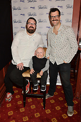 Left to right, JARRED CHRISTMAS, VERNE TROYER and MARCUS BRIGSTOCKE at an after show party following the opening of Peter Pan at the New Wimbledon Theatre, 93 The Broadway, London on 8th December 2015.
