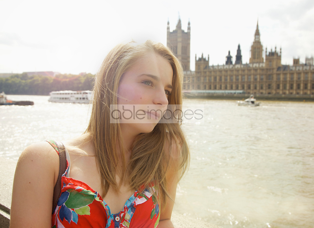 Young Woman by River Thames, London