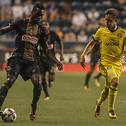 Philadelphia Union Attacker C.J. SAPONG (17) dribbles the ball down field in the second half of a Major League Soccer match between the Philadelphia Union and Columbus Crew SC Wednesday, July. 26, 2017, at Talen Energy Stadium in Chester, PA.