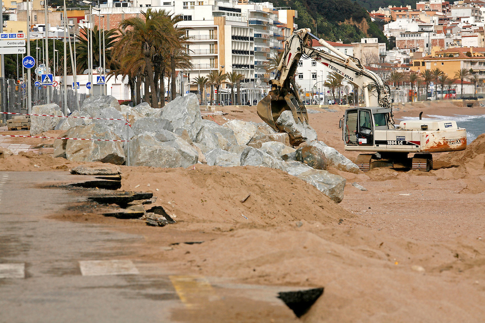 "December, 26th, 2008. Violent ""Levant"" sea storm  hit the northeastern catalan or spanish coast  provoking a blizzard in the interior. .Blanes (Costa Brava). Catalonia. Spain."